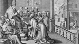 Pope Paul III (1468-1549) Receiving the Rule of the Society of Jesus, 1540 (engraving)