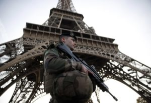 French Interior Minister and Prime Minister visit security services at the Eiffel Tower