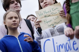 Greta Thunberg participates in a school strike for climate reform on the Ellipse near the White House