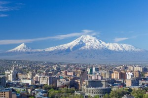 Mount Ararat and the Yerevan skyline in spring